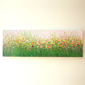 Pink And Green Acrylic Painting - canvas prints & art