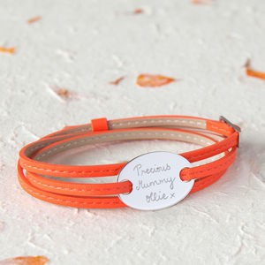 Personalised Plate On Leather Wrap Bracelet