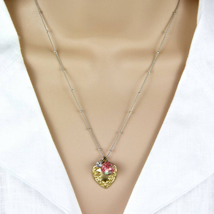 Golden Heart And Pink Bead Necklace