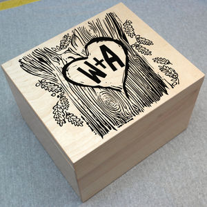 Personalised Couple's Woodcut Box
