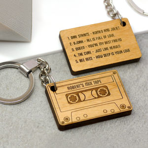 Personalised Wooden Mix Tape Keyring