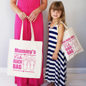 Personalised Mummy And Me Beach Shopper Bag Set
