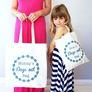 Personalised Mummy And Me Daisy Chain Shopper Bag Set - parent and child sets