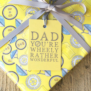 'Dad You're Wheely Rather Wonderful' Gift Wrap Set - wrapping paper