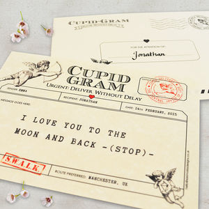 Personalised 'Cupid Gram' Valentine's Telegram - for her