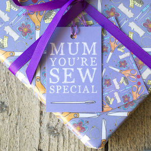 'Mum You're Sew Special' Gift Wrap Set - wrapping paper