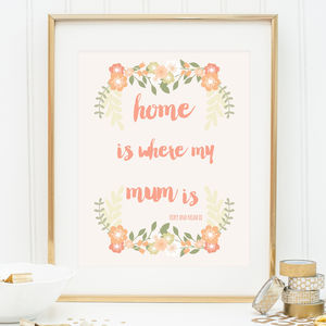 Mothers Day Personalised Home Is Where My Mum Is Print - prints & art