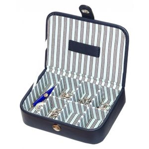 Mele And Co. Blue Striped Cufflink Storage Box - men's accessories