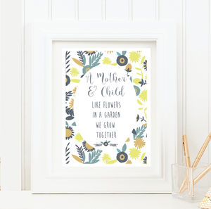 A Mother And Child Wording Print