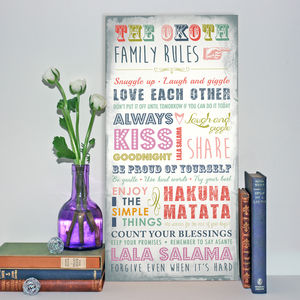 Family Rules Wood Print - mixed media & collage