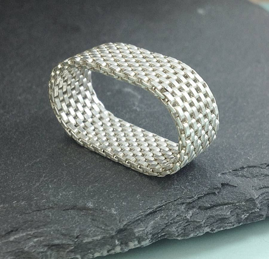 sterling silver mesh ring by greenaway