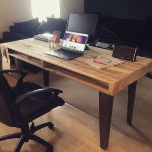 Reclaimed Timber Table With Steel Legs - office & study