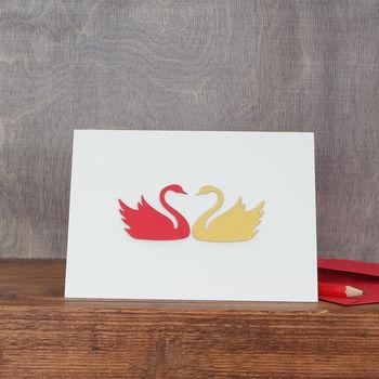 Personalised Pair Of Swans Valentine's Card