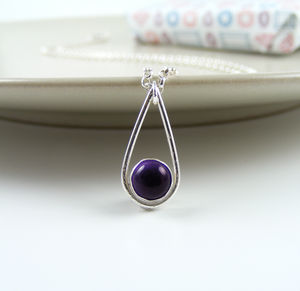 Silver Amethyst Teardrop Necklace