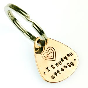 Personalised Plectrum Copper Key Ring