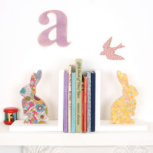Liberty Print Fabric Bunny Bookend - living room