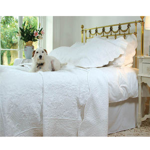 White French Toile Kingsize Quilted Bedspread - bed, bath & table linen