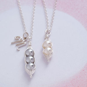 Peapod Sterling Silver And Pearl Necklace