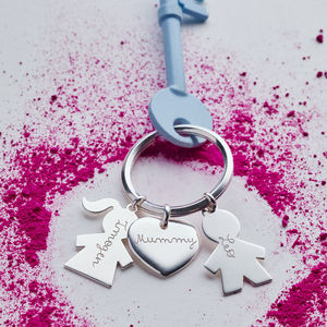 Personalised Sterling Silver Person Key Ring - for grandmothers