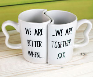 Interlinking Better Together Mugs - romantic breakfast