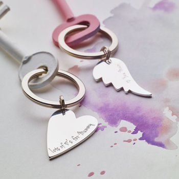 Personalised Silver Heart Or Angel Wing Key Ring