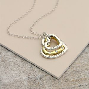 Personalised Family Heart Diamond Necklace - personalised jewellery