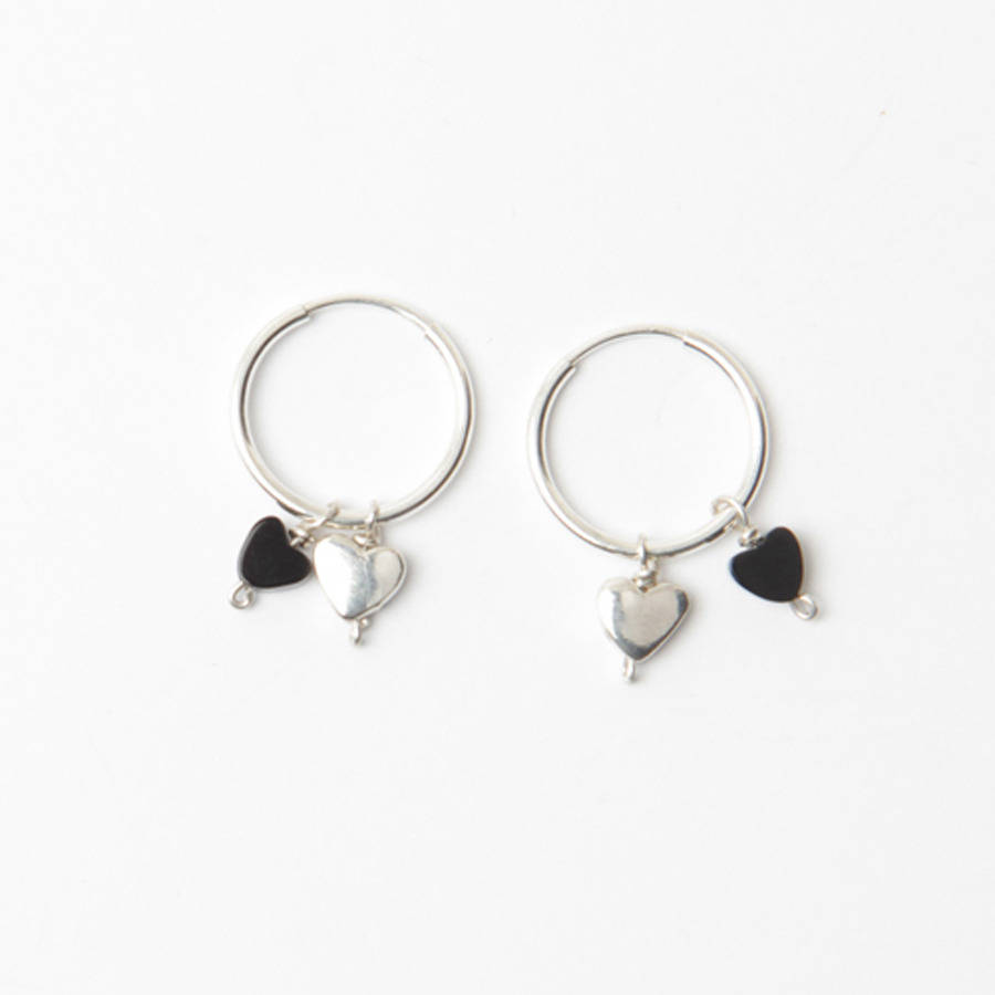 Tiny Silver And Onyx Love Heart Charm Hoop Earrings By