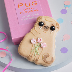 Pug With Flowers Biscuit - shop by colour: pink