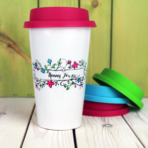 Personalised Calligraphy Flower Travel Mug - for travel-lovers