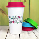 Personalised Calligraphy Flower Travel Mug