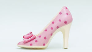 Large Chocolate Shoe Pink Spot Glitter Bow