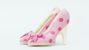 Small Chocolate Shoes Pink Spot Glitter Bow