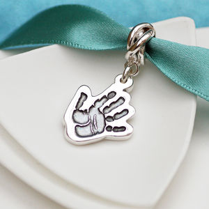Personalsied Silver Cutout Handprint Charm