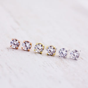 Solitaire Stud Earrings - bridal earrings