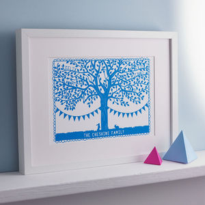 Personalised Family Tree Papercut Print - mum loves home sweet home