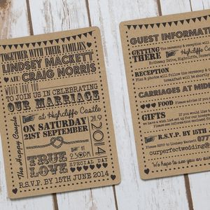 Typography Text Recycled Kraft Wedding Invitation - invitations