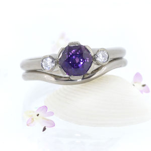 Purple Sapphire And Diamond Engagement Ring Set - rings