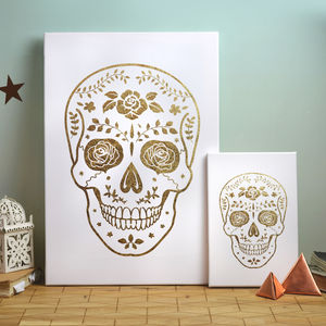 Gold Day Of The Dead Skull Canvas Print - canvas prints & art