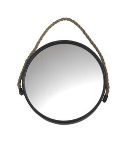 Black Framed Round Mirror With Rope