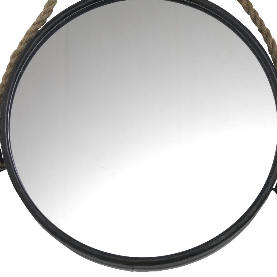 Large circle mirror with rope by posh totty designs for Circle mirror