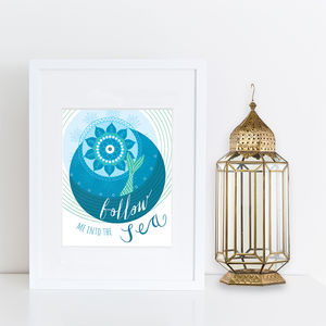 'Follow Me Into The Sea' Print - posters & prints
