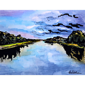 Stormy Rowing Lake - contemporary art