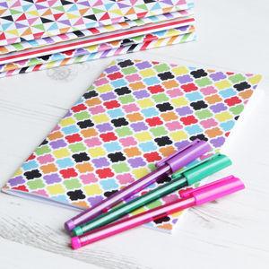 Colourful Quatrefoil Notebook A5