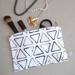 Personalised Monogram/Date Triangle Print Make Up Bag - stocking fillers under £15