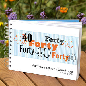 Personalised Boys 40th Birthday Guest Book