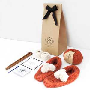 Beginner's Big Bobble Slippers Knitting Kit - women's fashion