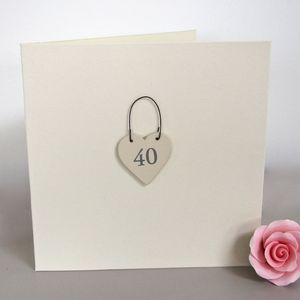 '40th' Handmade Birthday Card