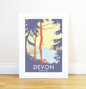 Devon River Dart Trees Vintage Style Seaside Poster