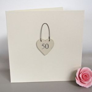'50th' Handmade Birthday Card - special age birthday cards