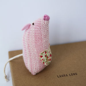 Knitted Heart Mouse - wedding favours